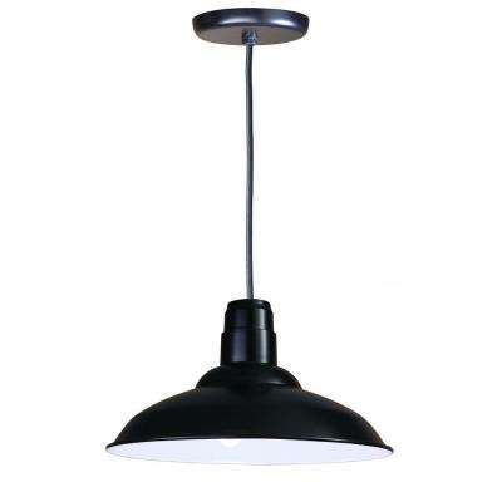1-Light Ceiling Black Fluorescent Pendant