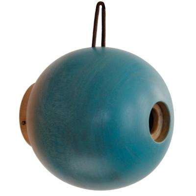 8 in. Blue Mango Wood Globe Bird House