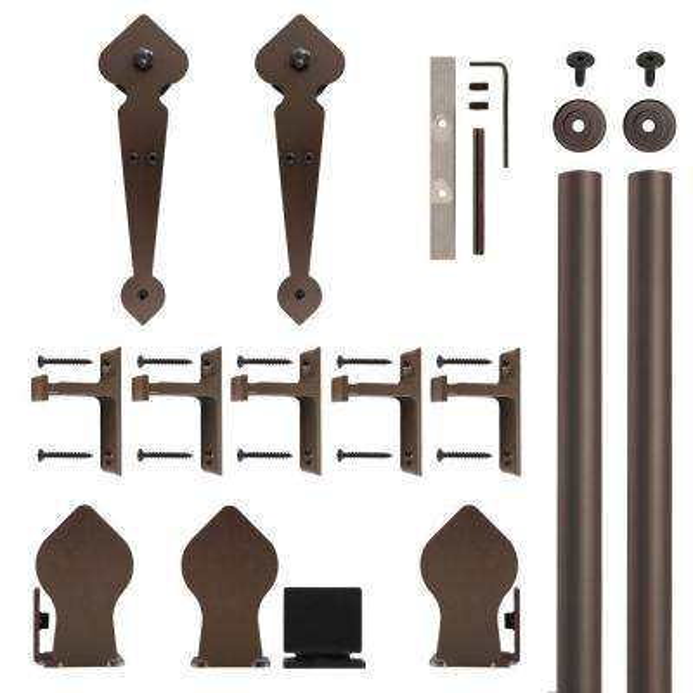 Spade Non-Hammered Oil Rubbed Bronze Rolling Door Hardware Kit for 1-1/2 in. to 2-1/4 in. Door