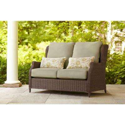 Vineyard Patio Loveseat with Meadow Cushions and Aphrodite Spring Lumbar Pillows -- STOCK