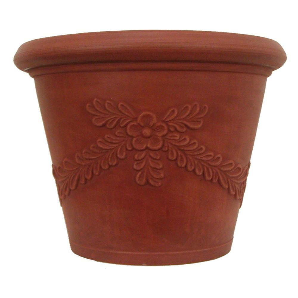 Pride Garden Products 16 in. Round Terra Cotta Garland Plastic Planter (2-Pack)