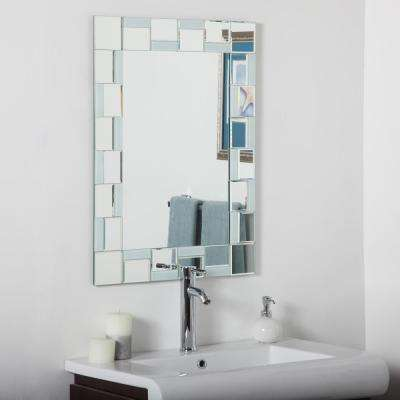 31.5 in. x 23.6 in. Rectangle Quebec Modern Bathroom Mirror with Beveled Edge