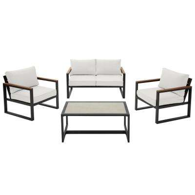 West Park Black Aluminum Outdoor Patio 4-Piece Conversation Set with CushionGuard White Cushions