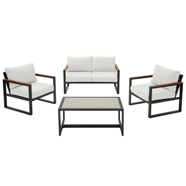 Hampton Bay West Park 4-Piece Black Aluminum Outdoor Patio