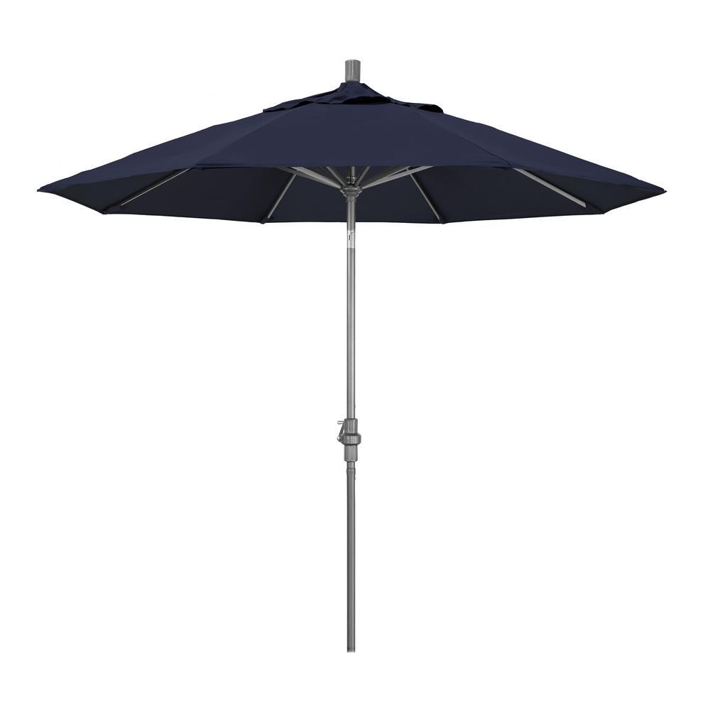 9 ft. Hammertone Grey Aluminum Market Patio Umbrella with Collar Tilt Crank Lift in Navy Sunbrella