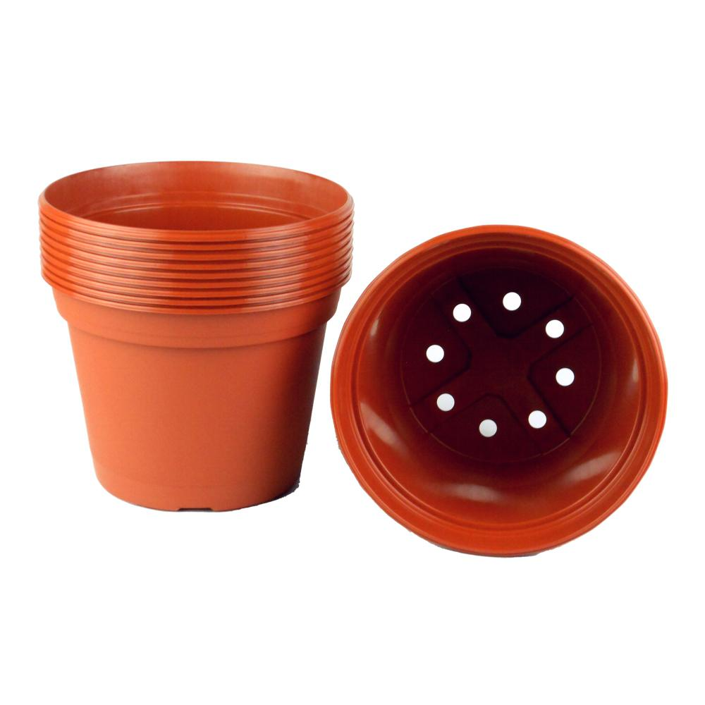 8 in. Terra Cotta Plastic Round Pot (10-Pack)