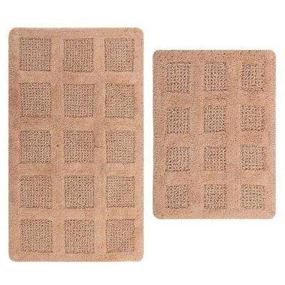 Square Honey Comb Natural 17 in. x 24 in. and 40 in. x 24 in. 2-Piece Reversible Bath Rug Set