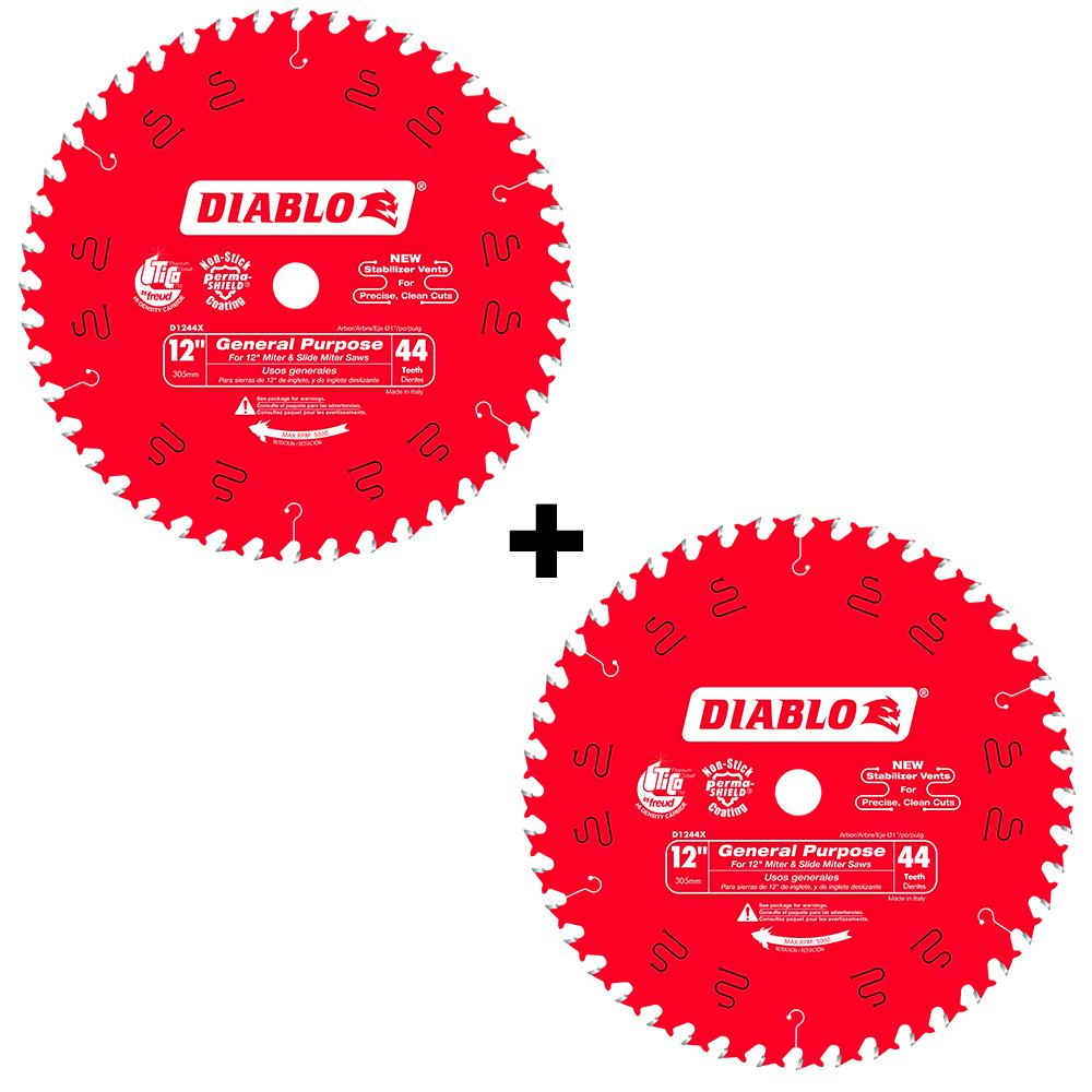 Freud D1244X Diablo 12-Inch 44 Tooth ATB General Purpose Miter Saw Blade with 1
