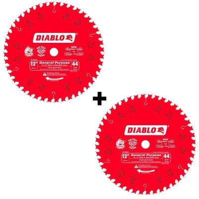 12 in. x 44-Teeth General Purpose Saw Blade (2-Pack)