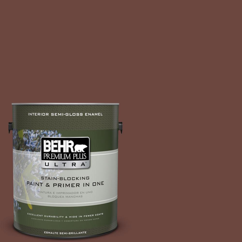 BEHR Premium Plus Ultra 1 gal. #S-G-720 Fireside Semi-Gloss Enamel Interior Paint and Primer in One