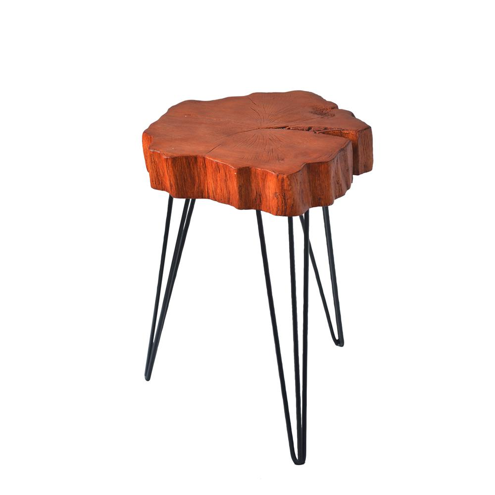 Brown Crosscut Tree Accent Table
