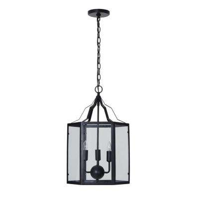 3-Light Black Traditional Pendant and LED Bulb