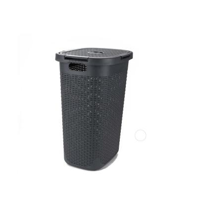 60 l Grey Plastic Slim Laundry Basket Laundry Hamper with Cutout Handles Dirty Clothes Storage