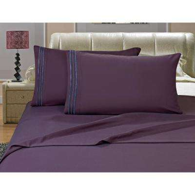 1500 Series 4-Piece Purple Triple Marrow Embroidered Pillowcases Microfiber King Size Eggplant Bed Sheet Set