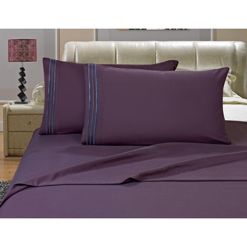 1500 Series 4-Piece Purple Triple Marrow Embroidered Pillowcases Microfiber Split King Size Eggplant-Bed Sheet Set