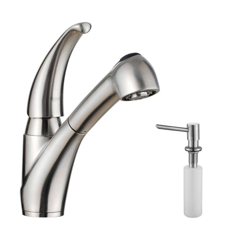 KRAUS Single-Handle Pull-Out Sprayer Kitchen Faucet in Stainless ...