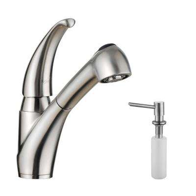 Single-Handle Stainless Steel Pull-Out Kitchen Faucet with Dual-Function Sprayer and Soap Dispenser in Stainless Steel