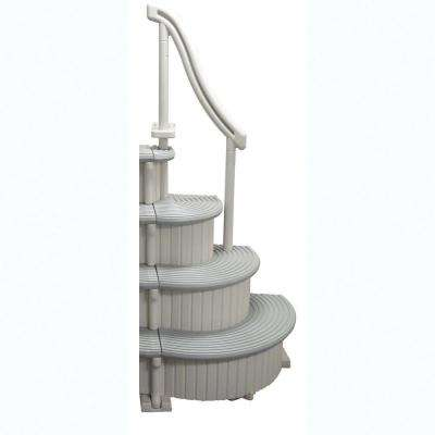Gray 4-Step Curved Add-On Above Ground Swimming Pool Entry Steps