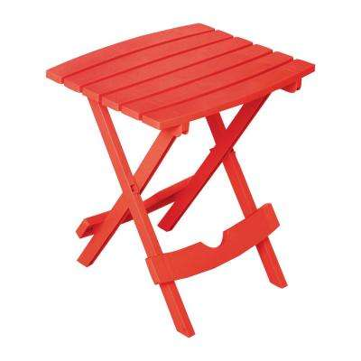 Quik-Fold Cherry Red Resin Plastic Outdoor Side Table