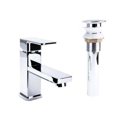 Square Single Hole Single-Handle Bathroom Faucet with Drain in Chrome