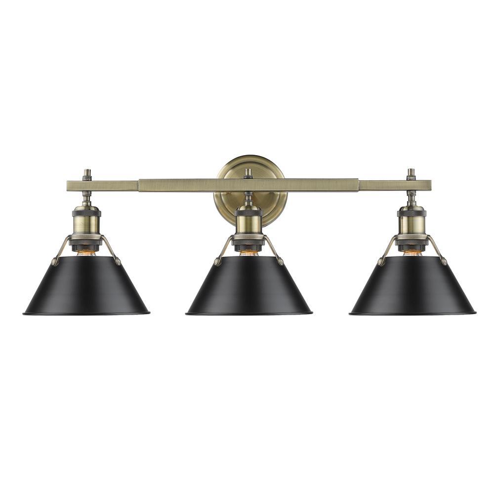 Orwell AB 3-Light Aged Brass Bath Light with Black Shade