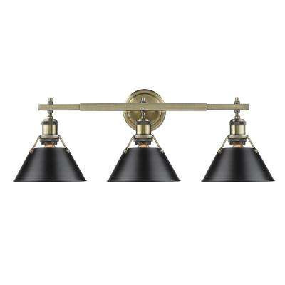 Orwell AB 3-Light Aged Brass Bath Light with Black Shade