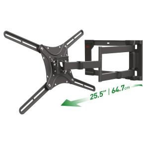 Barkan 13 - 80 inch Full Motion - 4 Movement Flat / Curved TV Wall Mount Black Extremely Extendable Very Low Profile