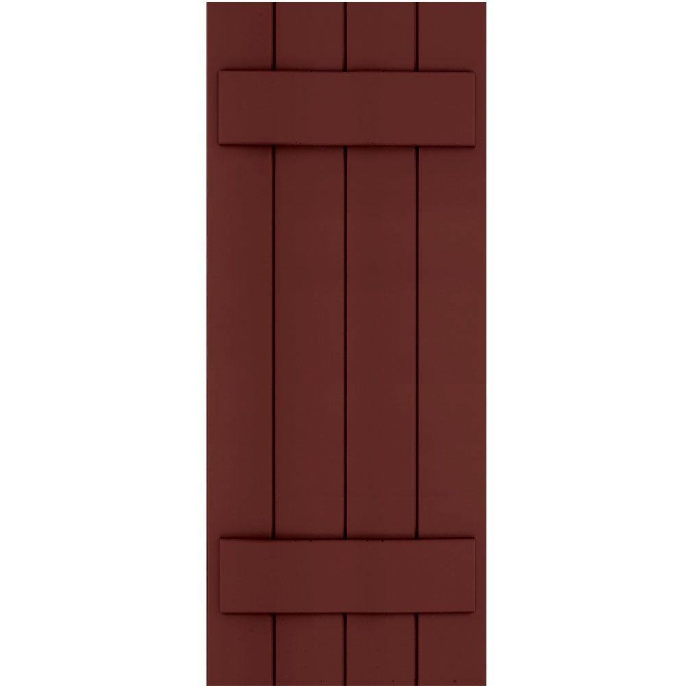Winworks Wood Composite 15 in. x 38 in. Board & Batten Shutters Pair #650 Board & Batten Red