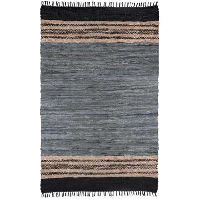 Gray Leather 3 ft. x 4 ft. Area Rug