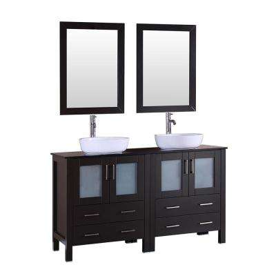 60 in. W Double Bath Vanity in Espresso with  Glass Vanity Top with White Basin and Mirror