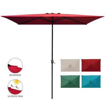 10 ft. x 6.5 ft. Rectangular Market Outdoor Patio Umbrella Table with Push Button Tilt and Crank in Red