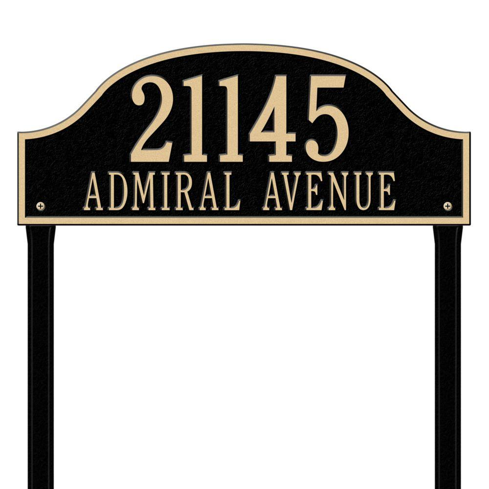 Admiral Estate Arch Black/Gold Lawn Two Line Address Plaque