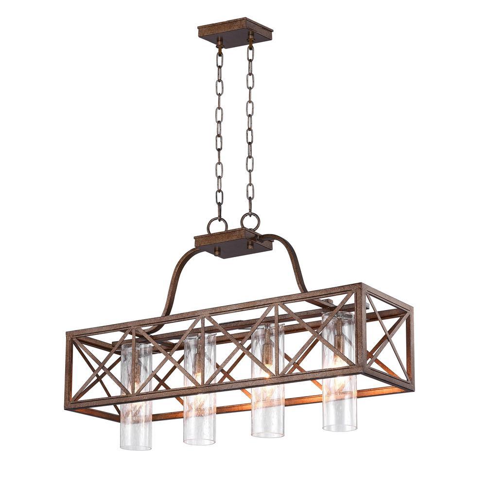 Keeva 4-Light Wood Grain Bronze Chandelier