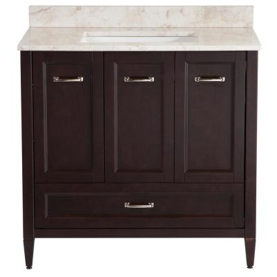 Claxby 37 in. W x 22 in. D Bathroom Vanity in Chocolate with Stone Effect Vanity Top in Dune with White Sink