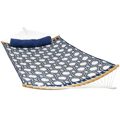 11 ft. Quilted 2-Person Hammock Bed with Curved Bamboo Bars, 450 lbs. Weight Capacity in Navy and Gray Tiled Octagon