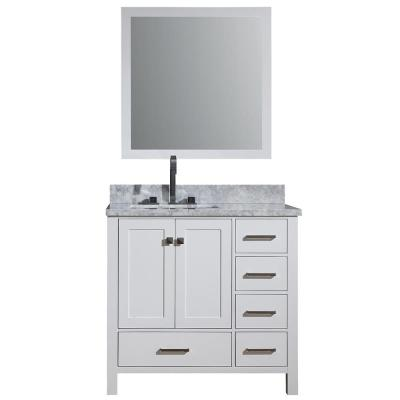 Cambridge 37 in. Vanity in Carrara with Marble Vanity Top in White with White Basin and Mirror