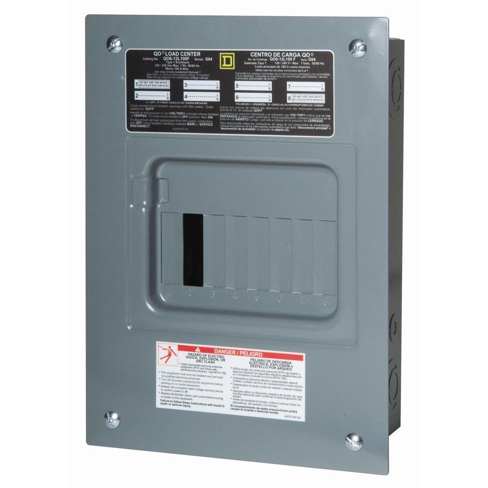 QO 100 Amp 6-Space 12-Circuit Indoor Main Lug Load Center