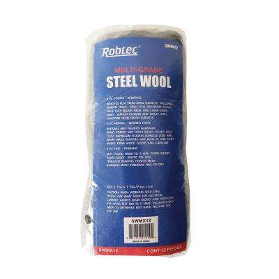 Assorted Grade Fine Medium Coarse Steel Wool Pads (12-Pack)