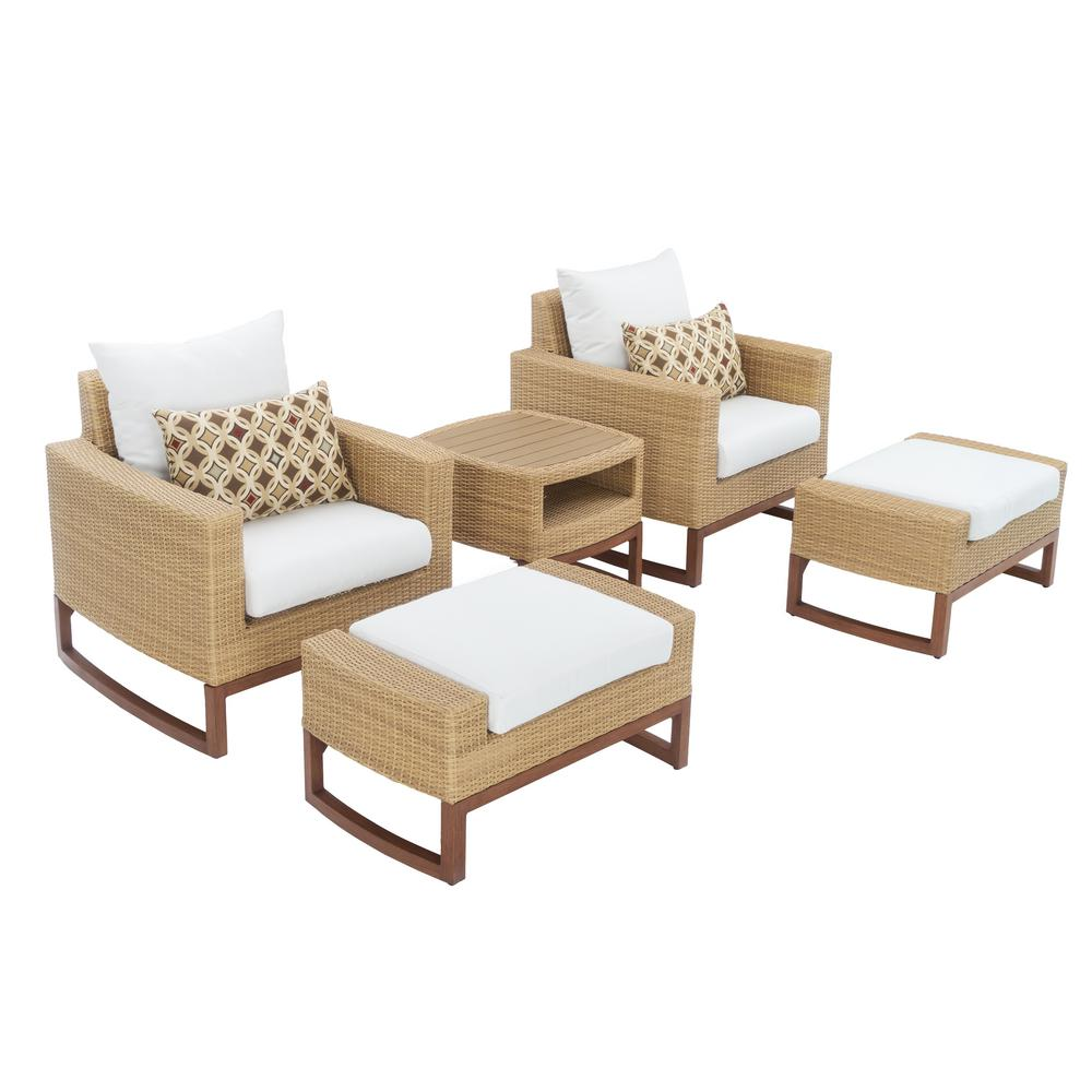 Mili 5 piece wicker patio deep seating conversation set with sunbrella moroccan cream cushions