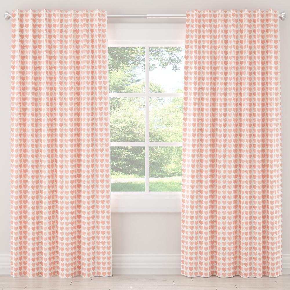 50 in. W x 84 in. L Unlined Curtain in Hearts Peach