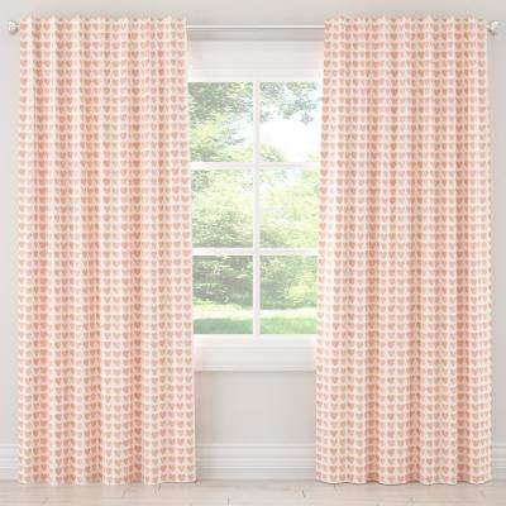 50 in. W x 96 in. L Unlined Curtain in Hearts Peach
