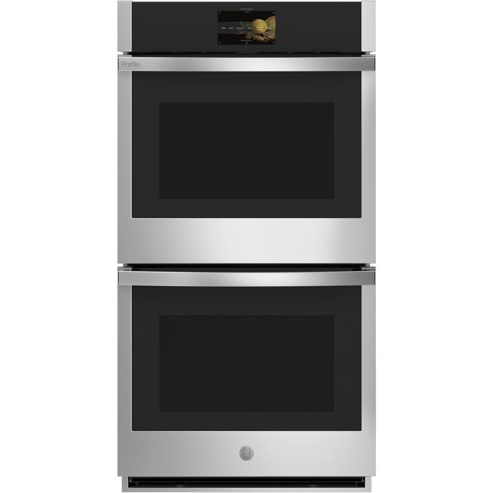 GE Profile 27 in. Smart Double Electric Wall Oven with Convection (Upper Oven) Self-Cleaning in Stainless Steel