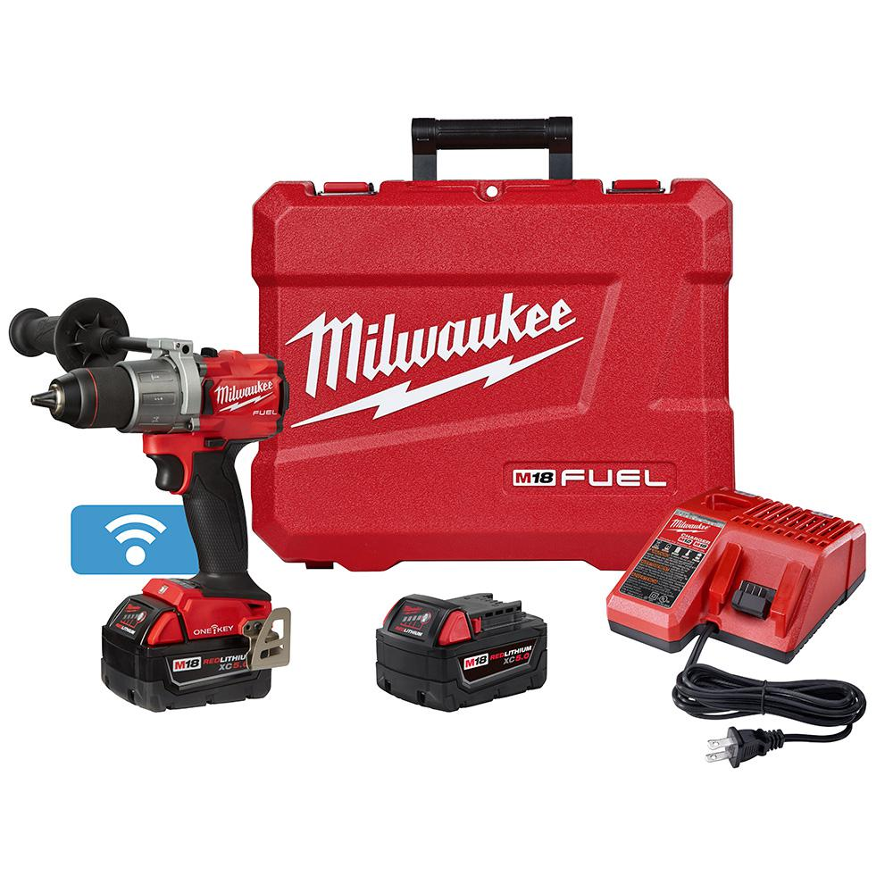 Milwaukee M18 FUEL ONE-KEY 18-Volt Lithium-Ion Brushless Cordless 1/2 in. Hammer Drill/Driver Kit with Two 5.0 Ah Batteries