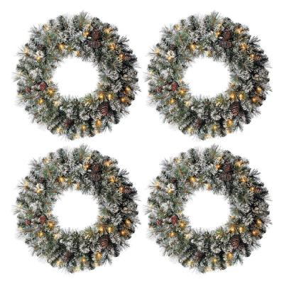 24 in. Sparkling Amelia Pine Battery Operated PreLit LED Artificial Christmas Wreath 30-Warm White MicroDot Lights 4Pack