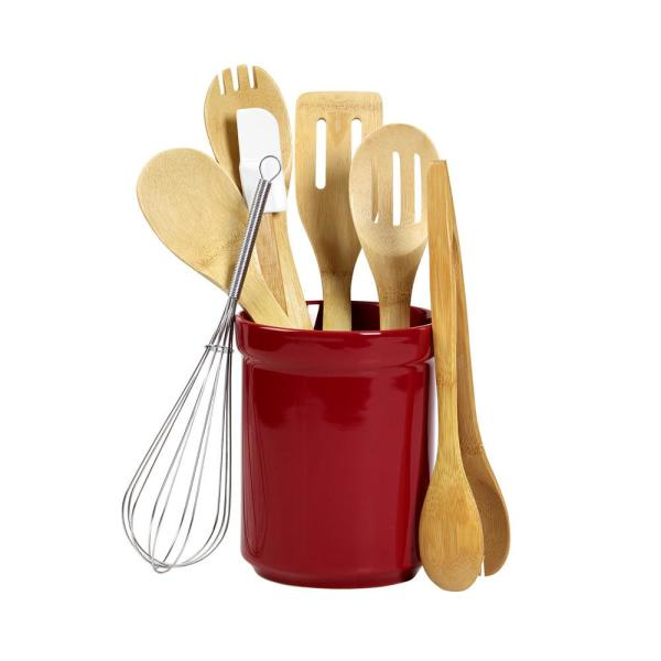 Art Cook 6 Piece Mint Utensil Set With Stainless Steel Handle Cw91251 The Home Depot