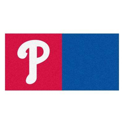 MLB - Philadelphia Phillies Red and Blue Nylon 18 in. x 18 in. Carpet Tile (20 Tiles/Case)