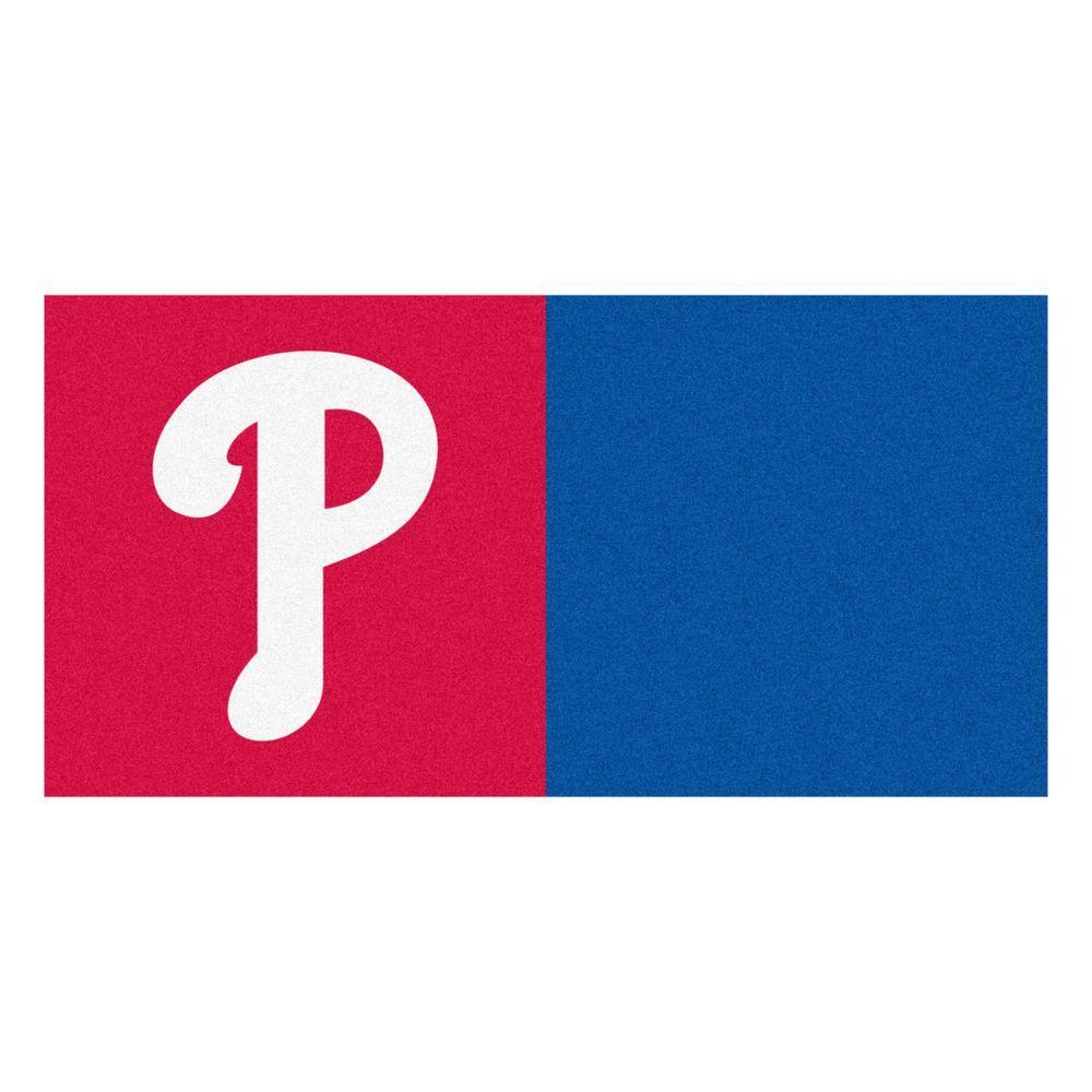 MLB - Philadelphia Phillies Red and Blue Nylon 18 in. x 18 in. Carpet Tile (20 Tiles/Case)