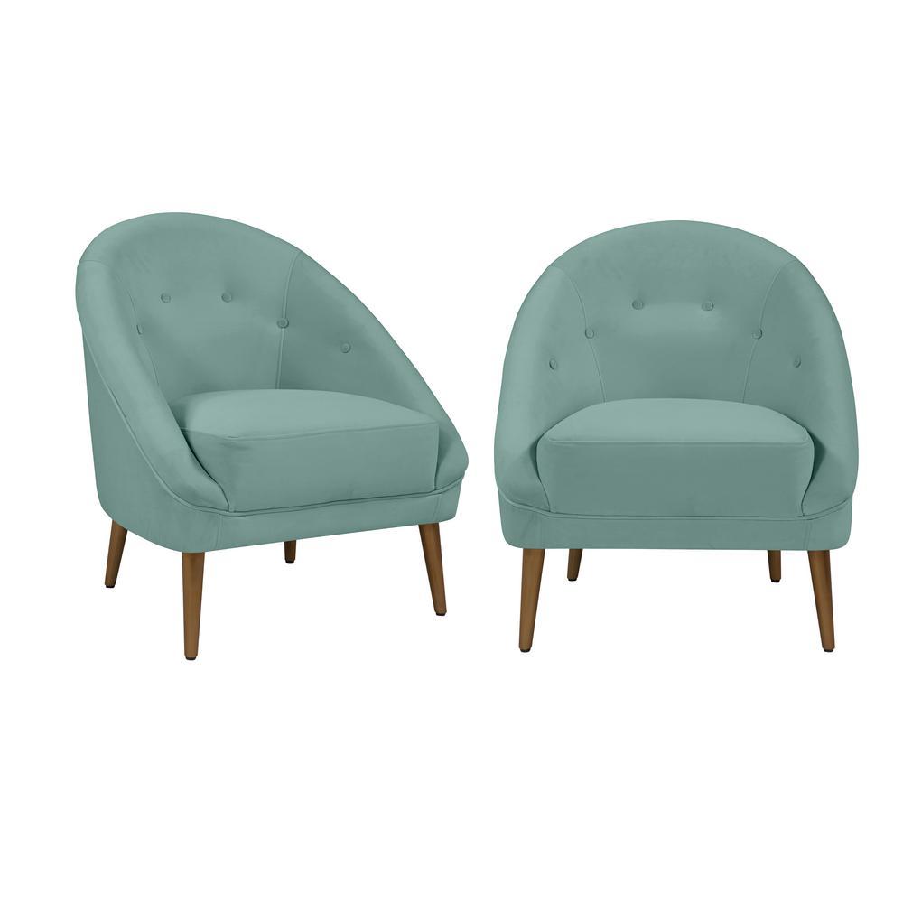 Lori Modern Turquoise Blue Velvet Fabric Barrel Chair (Set of 2)