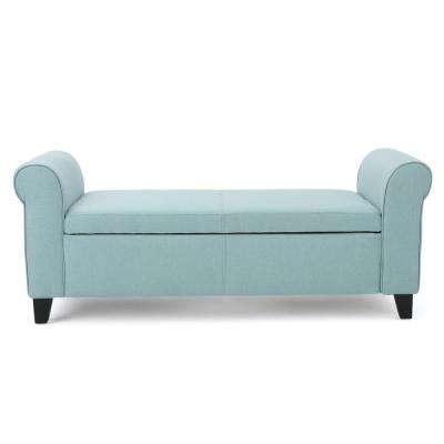 Hayes Light Blue Fabric Armed Storage Bench
