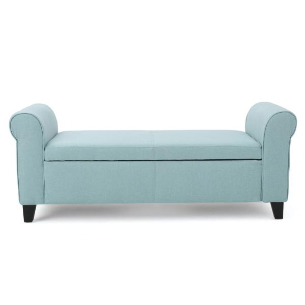 Noble House Hayes Light Blue Fabric Armed Storage Bench 299750